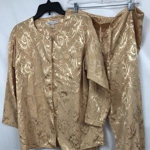 Vintage Victorias Secret S Gold Satin Pajamas Set